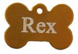 Psí známka kost zlatá z eloxovaného hliníku