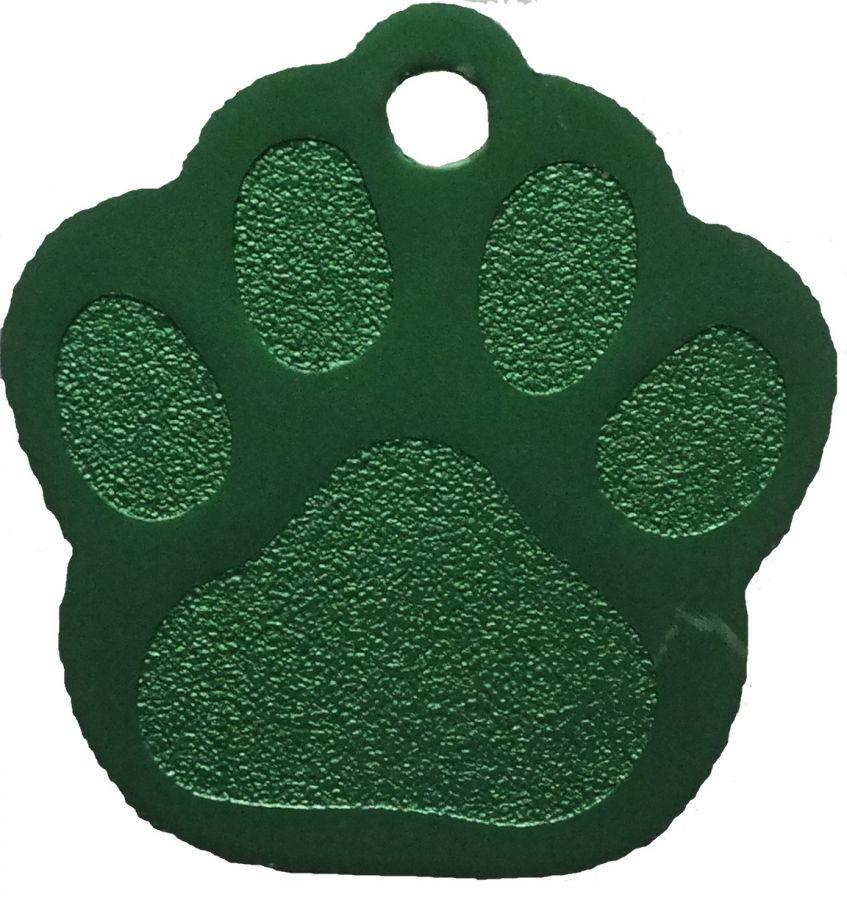Trixie známka pro psa zelená packa s rytím