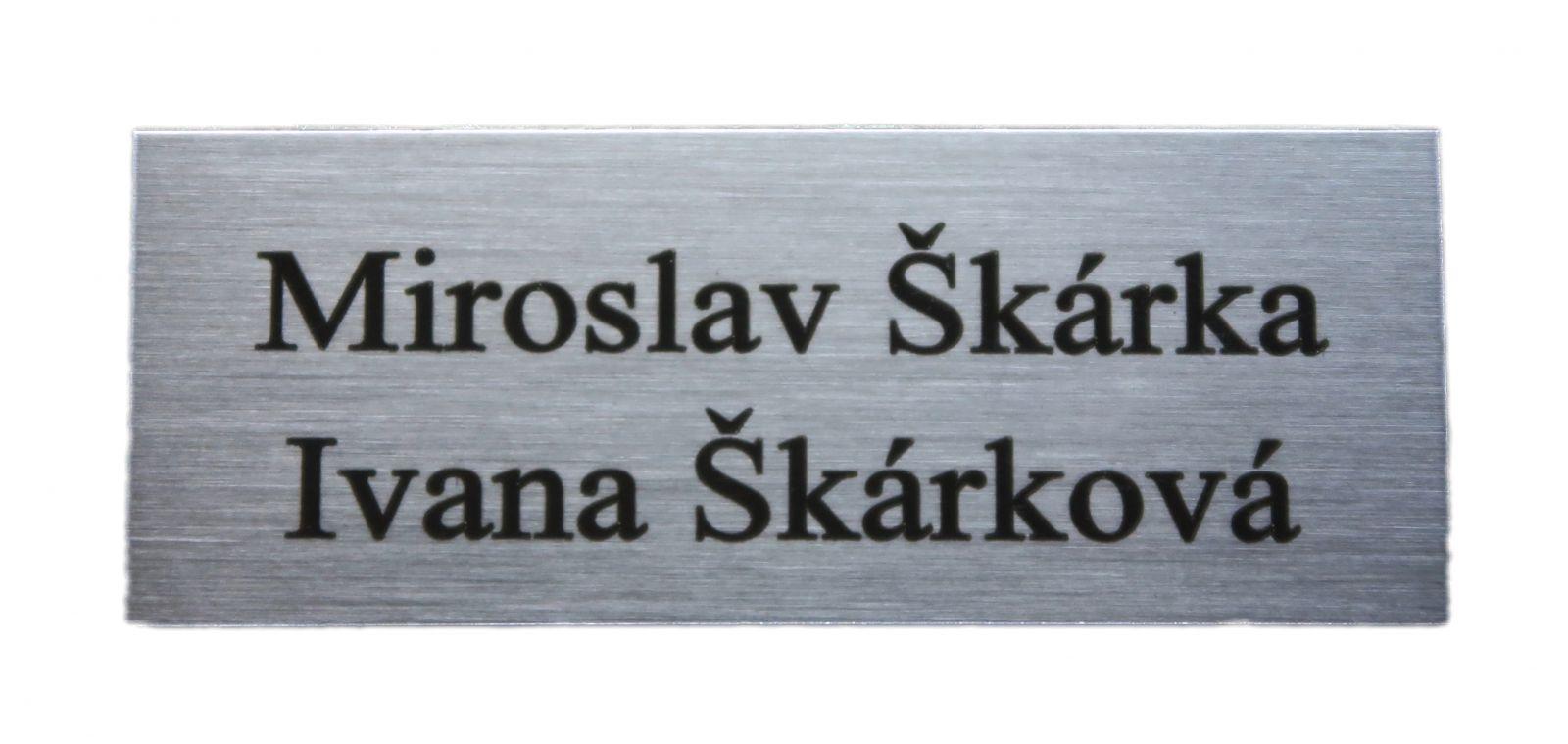 Mosazný stříbrný broušený dveřní štítek 65x30 mm