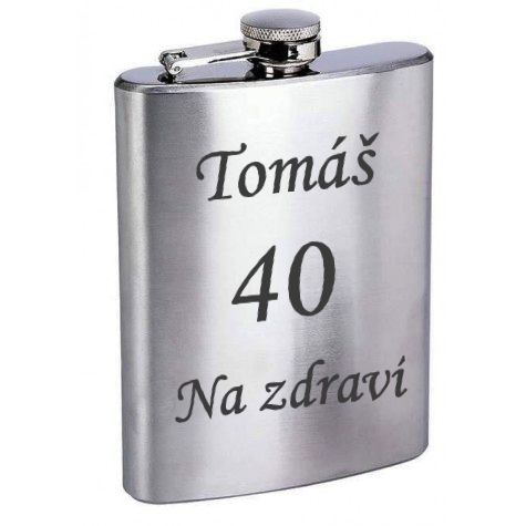 Nerez placatka stříbrná 6OZ / 180ml - gravírování textu zdarma