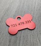 Trixie známka pro psa červená kost s rytím